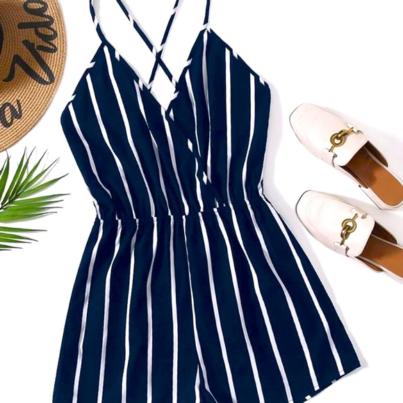 Navy & White Striped Romper